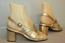 4 NOS Vtg 60s 70s METALLIC GOLD  WIDE STRAP SLING BACK CHUNKY HEEL PARTY Shoe