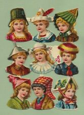 Victorian Die Cut Scraps, Pretty Children in Funny Hats   M78