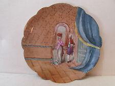 ancien grand plat decoratif porcelaine limoges peint scene galante epoque 1900