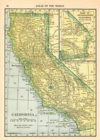 1910 Antique Map of California Vintage California State Map Wall Art smap 8605
