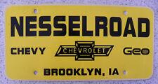Vintage Nesselroad Chevy, Chevrolet, Geo, Brooklyn,Iowa Ia Dealer License Plate