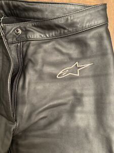 ALPINESTARS Black Leather Bootcut Pants Motorcycle Trousers - USA 10, EUR 46