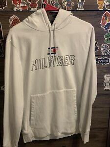 Men's White Tommy Hilfiger Sport Hoodie Pullover Size Medium
