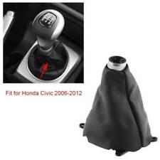 Manual Shift Shifter Boot Cover Stitch For Honda Civic Si 2006-2012 Black PU
