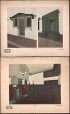 1910 2 lithographies architecture art déco Max Benirschke décoration d'intérieur