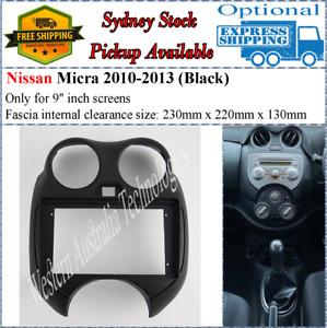 For 9 Nine Inch Screen Fascia facia Fits Nissan Micra 2010-2013 Black Dash Kit*