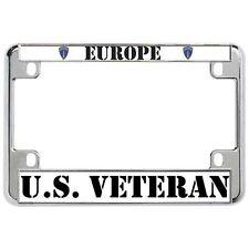 EUROPE U.S. VETERAN Military Metal Motorcycle License Plate Frame Tag