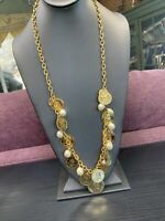 """Vintage Quality Shiny Gold Bohemian White Pearl Necklace Strand 30"""" Inches Long"""