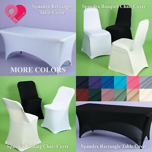 1-12 Spandex Fitted Banquet Folding Chair Cover Table Cloth Wedding Party Event