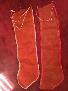 Vintage 1950's Pair Christmas Stockings - Netting W/ Vinyl Trim -1 W/ 4 Pockets