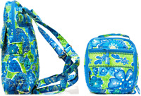 Abbergale Small Backpack School Bag Book Bag & Small Lunch Bag Cotton Quilted