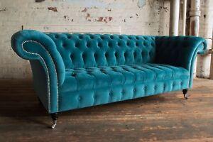 Modern Handmade 3 Seater Plush Blue Teal Velvet Chesterfield Sofa, Fabric Couch