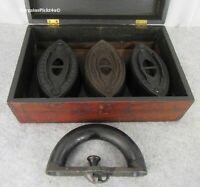 RARE Antique ENTERPRISE Philadelphia Pa Cold Handle Clothes Sad Iron Set w Box