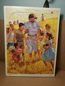 """1963 Richard Hook Jesus And The Children In The Meadow Tray Puzzle 11""""×8"""""""