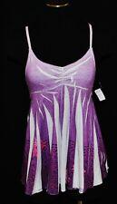 CHIC BoHo Coachella Summer Purple Fitted Swing Flowing Blouse Tank Shirt XS