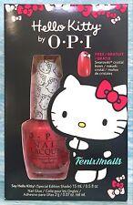OPI SAY HELLO KITTY fuchsia shimmer nail lacquer polish + Crystal Charm Ltd Ed.