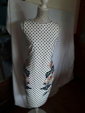 LADIES WHITE POLKA DOT SPOTTED DRESS FLORAL SIZE 10
