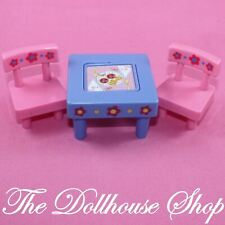 Fisher Price Loving Family Dollhouse Kids Blue Flip Table Pink Chairs Nursery