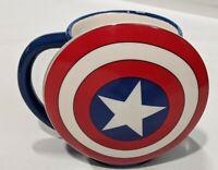 Captain America Molded Mug Cup Ceramic Large Shield Rare Avengers Marvel Comics