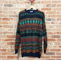 *TWILIGHT ZONE* Vintage 80s 90s Cosby COOGI Style Jumper Sweater Oversized L
