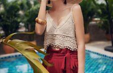 Bohemian Boho Beige Knitted Crop Top,Short Tassel Vest, Sexy Camisole, Beach