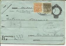 Brazil Registered Postal Envelope HG:C3b, uprated Sc#243 #249, Rio