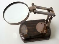 Marine Vintage Brass Table Magnifier Magnifying Reading Glass Wooden Nautical