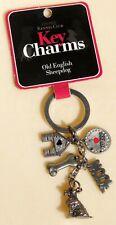 New Old English Sheepdog Dog Key Charms Ring Bling Faux Diamonds 2008 Nos