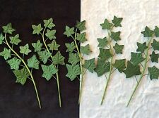 5 Ivy Stems Handmade Green Mulberry Paper sprig floral cards Miniatures Fairies
