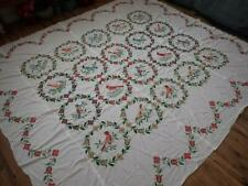 Large Vintage Embroidered Cross Stitch Bird QUILT TOP Signed Dated