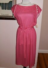 Vtg NOS Fuschia Pink M C S Ltd. New York Sleeveless DRESS Mod Size 12 NWT