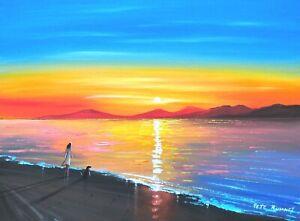 Pete Rumney Original Canvas Art Watching The Sun Go Down Vibrant Handpainted New
