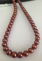 Natural 18''AAA 9-10mm South Sea Genuine Chocolate Pearl Necklace 14k gold