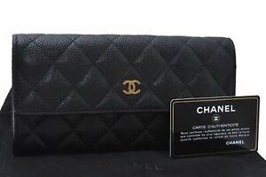 Authentic CHANEL Caviar Skin Matelasse Long Wallet CC Logo Black D5246