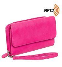 Mundi Womens My Big Fat RFID Wallet Clutch w/ Wrist Strap Hot Pink