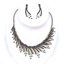 Crystal Purple Flame Rhinestone Necklace & Earring set for Wedding, Bridal, Prom