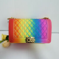 Fashion Single Shoulder Chain Slant Handbag Rhombus Multi-colored Jelly Bag