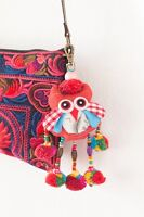 Owl Key Chain Bag Accessories Zip Pull Pom Pom Tassel Handmade By Hmong Thai