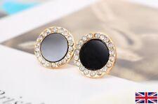 Women's Elegant Black Stud Earrings With Crystals - UK Free P&P