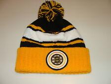 9c77c7942c7 Boston Bruins Hockey Cap Hat Beanie Pom Toque Mitchell Ness Quilted Crown  NHL