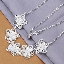 925 sterling Silver plated Fashion wedding Flower nice lady Necklace Jewelry