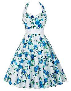 GRACE KARIN WomenS Vintage 1950s Dress Retro White Blue Floral UK Size 8 B34