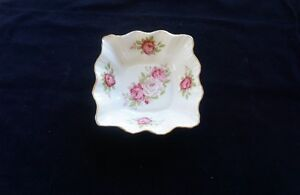 ROSINA BONE CHINA MADE IN ENGLAND PINK FLORAL ROSES BUTTER DISH/JAM DISH