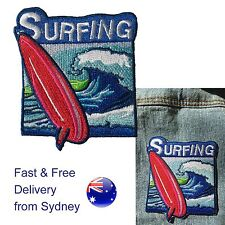 Surfing iron on patch  - surf board with wave symbol for sea sport fun patches