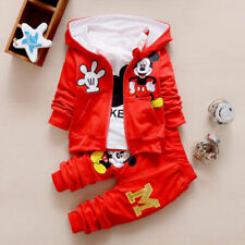3pcs Toddler Baby Sport Clothing Cartoon Mickey Hooded Vest+Tops+Pants For 2-3Y