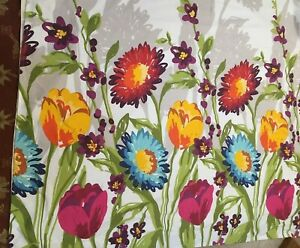 Cynthia Rowley Fiorina Floral Fabric 12  Hook Slots Shower Curtain 68 x 73""
