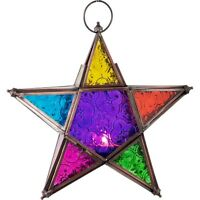 """Glass & Metal Color Candle Lanterns 5 Point Star 9"""" H x 9"""" W x 2"""" D"""