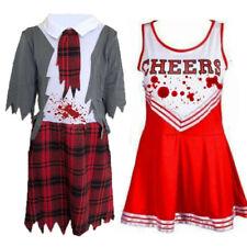 CHILDRENS ZOMBIE SCHOOL GIRL DEAD CHEERLEADER FANCY DRESS COSTUME HALLOWEEN