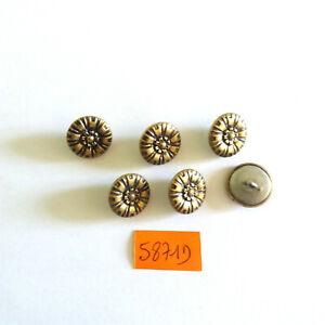 6 boutons en métal doré et argenté - 14mm - vintage - 5871D