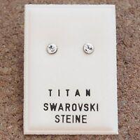 NEU Titan OHRSTECKER mit 4mm SWAROVSKI STEINE crystal/kristallklar/klar OHRRINGE
